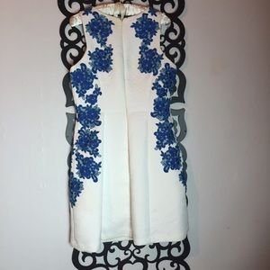 Ivy & Blu Dresses - White Dress with Blue Detail