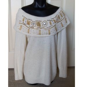 Off Shoulder Boatneck Sweater Longsleeve Holiday