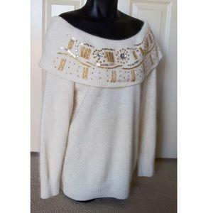 Vintage Sweaters - Off Shoulder Boatneck Sweater Longsleeve Holiday