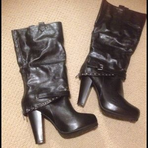 Shoes - Black bamboo knee high boots