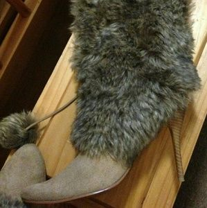 Shoes - Beautiful, camel colored faux fur over calf boots.