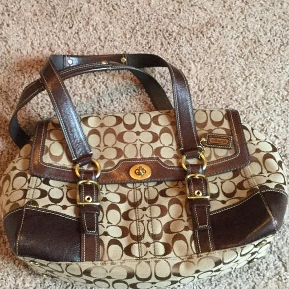 Coach Handbags - Signature Coach satchel bag in brown