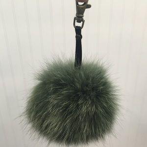 Green fox fur ball key chain
