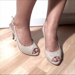 """Pierre Dumas Shoes - Pierre Dumas Platinum Gold Slingback 4"""" Pumps"""
