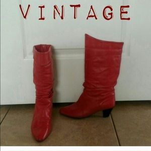 Red Vintage Leather Boots