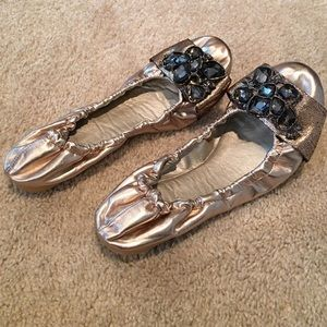86 off wanted shoes blue faux snake ballet flats by wanted size 7