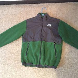 Dark green and grey fleece north face jacket