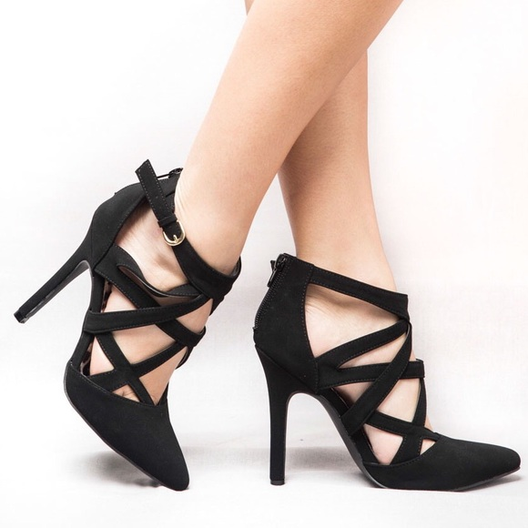 77dbcccde6 Qupid Shoes | Black Strappy Pointed Toe 45 Heels | Poshmark