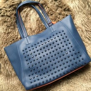 Blue/orange studded faux leather 3-in-1 tote bag