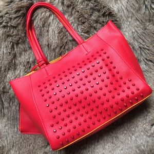 Handbags - Red/yellow studded faux leather 3-in-1 tote bag