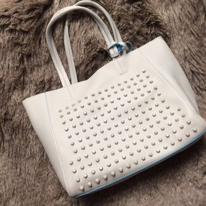White/blue studded faux leather 3-in-1 tote bag