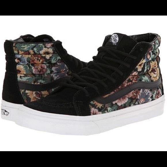 2018 Fashion style   Vans Tapestry Floral SK8Hi Slim Womens Shoes Black
