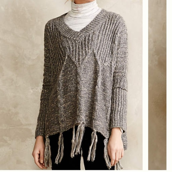 Anthropologie Sweaters Love Token Cable Knit Poncho Sweater Poshmark