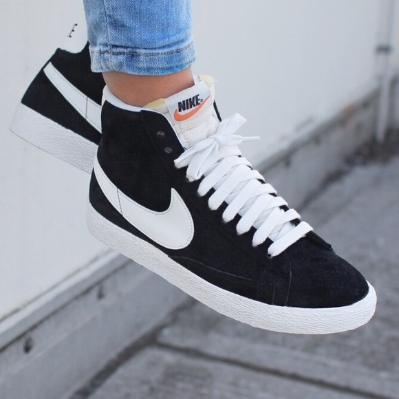 Nike Black Perforated Suede Blazer Sneakers