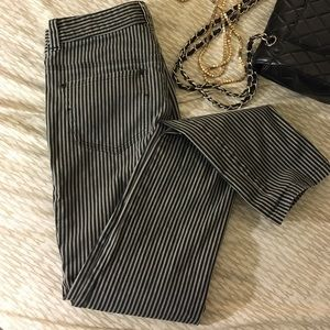 Pants - Black and grey stripped pants
