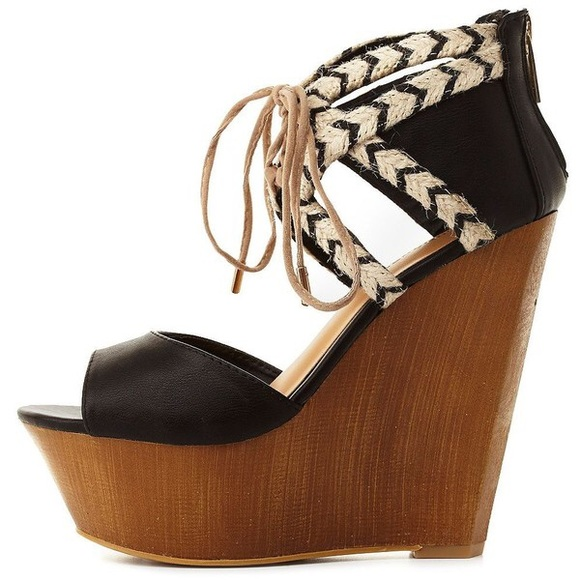 9e14efcfe8c8 NEW Charlotte Russe Dollhouse Lace up Wedges 8.5