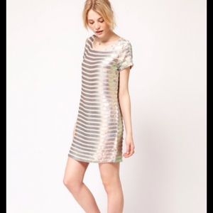 French Connection Metallic Stripe Sequin Dress