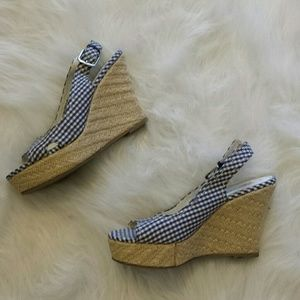 American Eagle by Payless Shoes - Blue and white plaid wedges