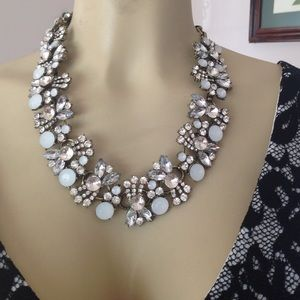 Chunky bib statement necklace with crystals