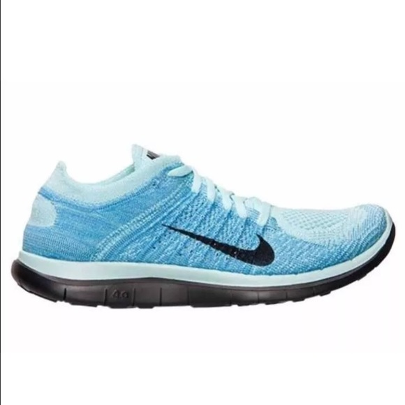 nike free 4.0 flyknit powder blue/black bugatti