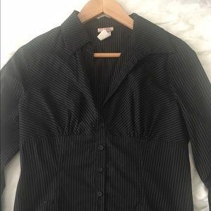 Empire waist black and white pinstripe shirt