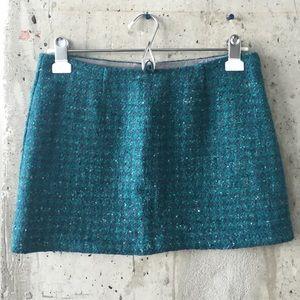 Tweed turquoise mini pencil skirt