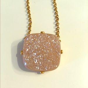 Light pink Druzy stone necklace