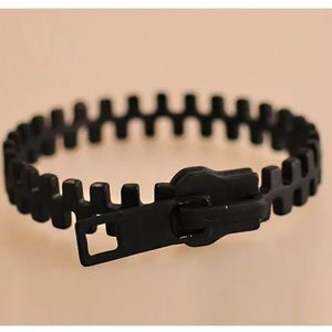 Black zipper bangle bracelet