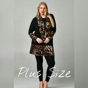 Plus Size Leopard Tunic with Scarf