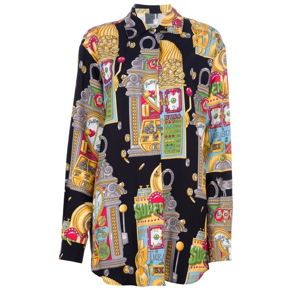 Vintage 90/'s MOSCHINO Italy Shirt Stripes Large Moschino Jeans Poker Card Games Printed Las Vegas Casino Poker Oxfords Buttondown Size L