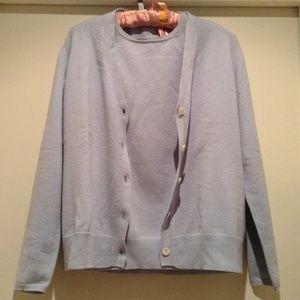 cruciani Sweaters - Baby blue cardigan set.
