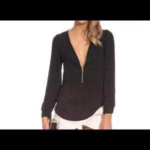 Tops - Chiffon long sleeve zipper top Brand New