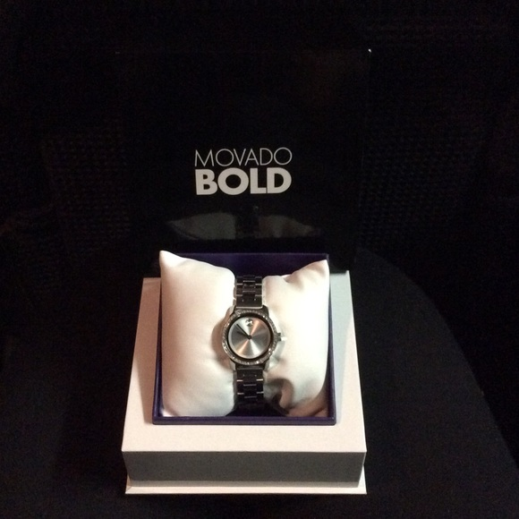 cc3699d3e Movado Accessories | Bold Silver Diamond Stainless Steel Watch ...
