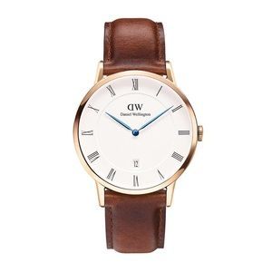 NIB Daniel Wellington Brown Leather Silver Watch
