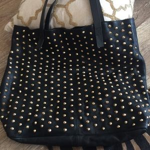 Zara Black Leather Gold Studded Tote