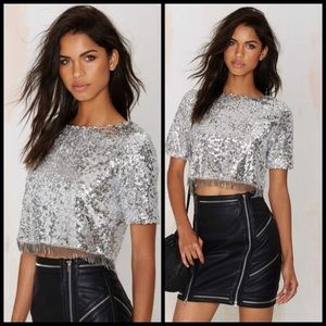 NWT nasty gal silver sequin fringe top