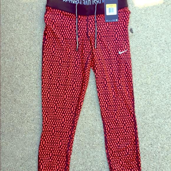 aaa752f3 Nike Pants | Drifit Black And Red Workout Capris | Poshmark