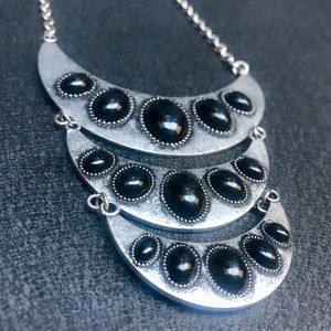Silver & black crescent statement necklace