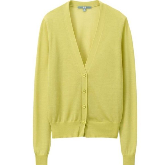 UNIQLO - Neon yellow cardigan v-neck sweater from Debbie's closet ...