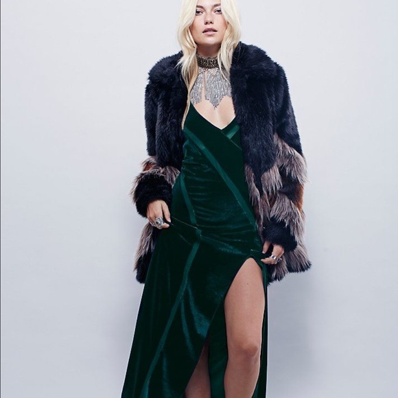 d3bde450d503a8 Free People Dresses & Skirts - Free People Green Intimately Spliced Velvet  Maxi