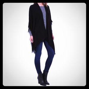 ECHO Sweaters - ECHO Light Weight Pointelle Ruana Wrap BLACK
