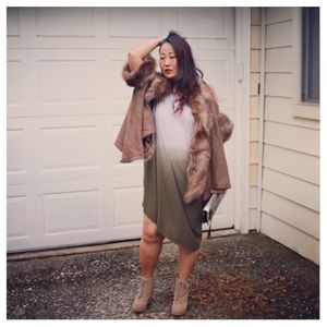 Sweaters - Mocha Faux Fur Trim Poncho