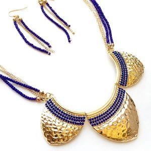 Blue/indigo & gold hammered statement necklace