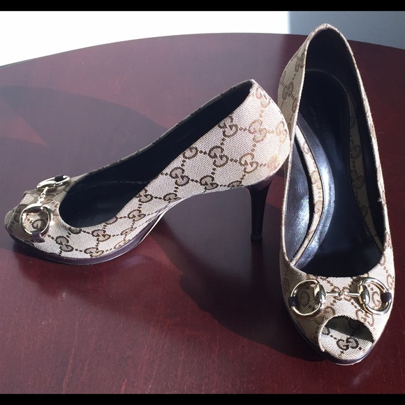 aab13790f Gucci Shoes | Sale Authentic Monogram Peep Toe Pumps 38 | Poshmark