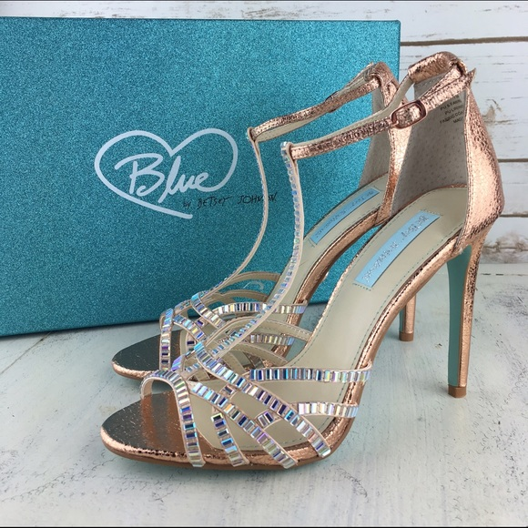82ab7b2cabd2  Blue by Betsey Johnson  Ruby Rose Gold Heels Prom