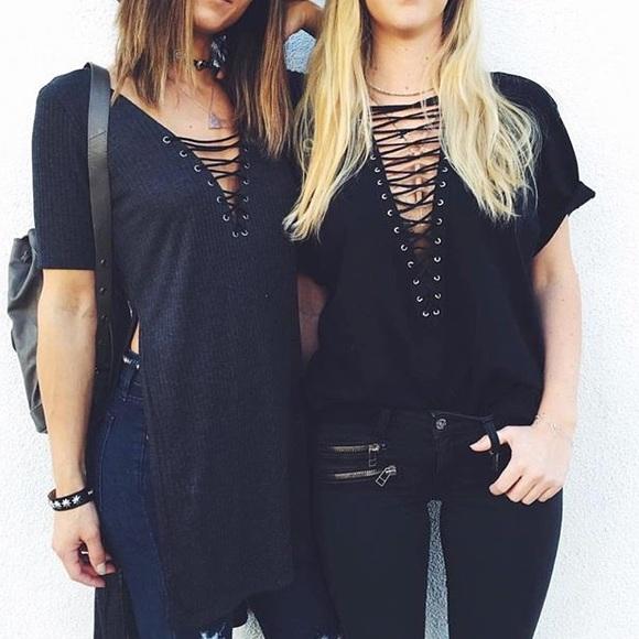 LF Tops - RESERVED LF Emma   Sam black lace up top 1a27514d8
