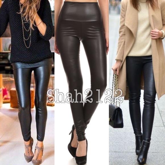 c8d22796e13fe Boutique Pants | Black Slick Faux Leather Leggings High Waist Sexy ...