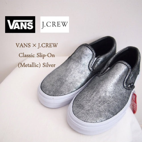 Vans shoes slip ons jcrew metallic silver crackled.  M 567d14ed47da81ff8b014ae2 e29c7ebce