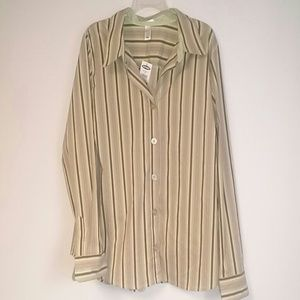 Black Facts Old Navy Green Brown striped shirt