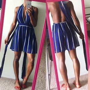 Pants - Striped Romper with adjustable, convertible straps